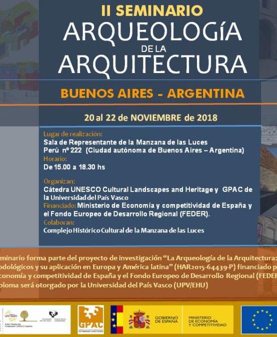 """II Seminario """"Arqueología de la Arquitectura"""" en Buenos Aires"""